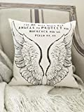 Athena Bacon Pillowcase Decor Cover Angel Wings 16x16 Christian Scripture Psalm 91:11 Angels Protect Canvas Throw Pillowcase Decor Bible Prayer Gift
