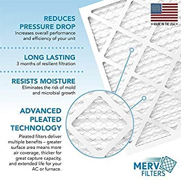 Pollen Lint Blocks Dust Mites MervFilters Air Conditioner and HVAC Filter - Premium Furnace Universal Compatibility 16x25x1 MERV 8 Pleated Air Filters 16 x 25 x 1 6-Pack Pet Dander