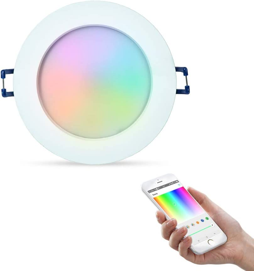 C/álida+RGB Cambio de Color,Remoto Control con Bluetooth App+Mando a Distancia,Iluminaci/ón LED Interiorpara Baňo//Cocina,IP44,12W iHomma Downlight LED Empotrable en Techo Redondo,Dimmable Blanca Fr/ía