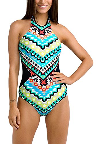 FARYSAYS Womens Colorful Tribal Print High Neck One Piece Maillot Swimsuit Plus Size, Colorful Tribal Print, XXL(US size 18-20)