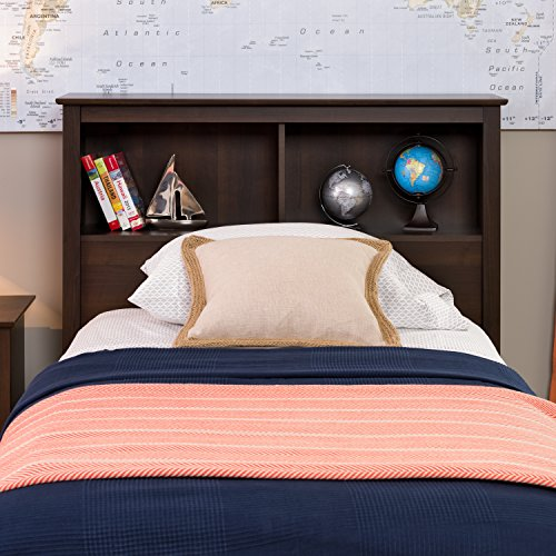Maple Storage Headboard - Espresso Twin Bookcase Headboard