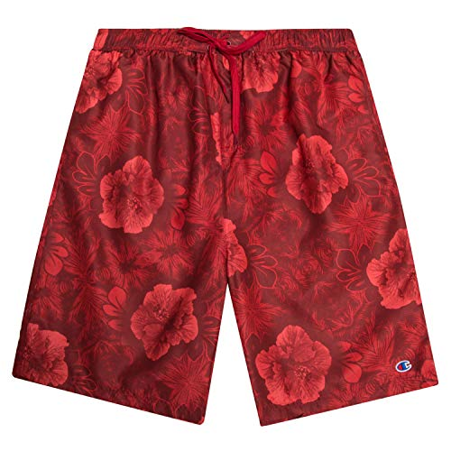 Champion Mens Big and Tall Floral Print Swim Trunks with Quick Dry Technology Red