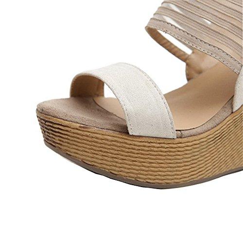Aalardom Womens Buckle High Heels Microfiber Effen Sandalen Met Open Neus Beige