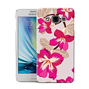 DYEFOR BRIGHT PINK HIBISCUS STYLE CREAM BACK CASE COVER FOR SAMSUNG GALAXY A3