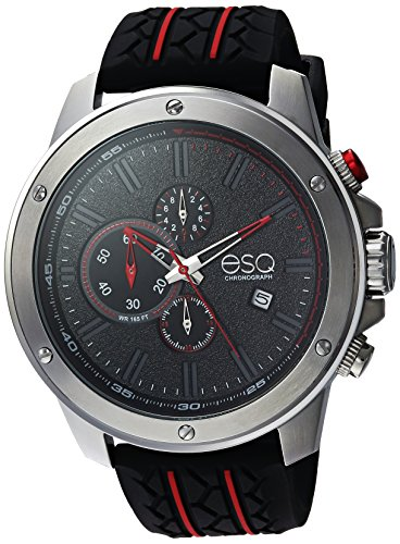 ESQ Men's 'Sport' Quartz Stainless Steel and Silicone Casual Watch, Color Black (Model: 37ESQE19201A)