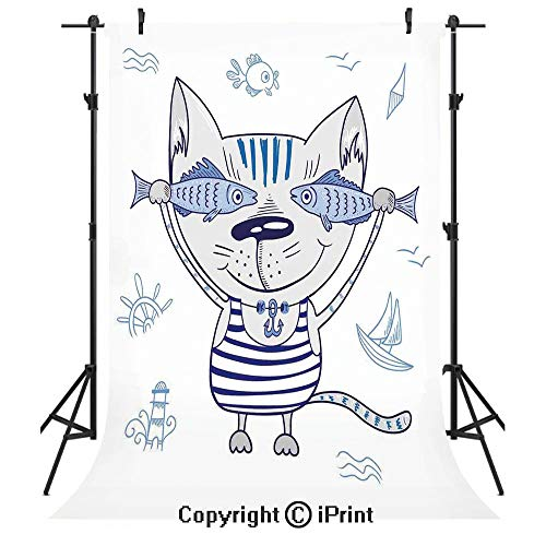 Sign Blue Beach Decor 12' (Ocean Animal Decor Photography Backdrops,Naughty Cat with Fish in Striped T Shirt Anchor Pendant and Nautical Sign,Birthday Party Seamless Photo Studio Booth Background Banner 10x20ft,Blue Grey)