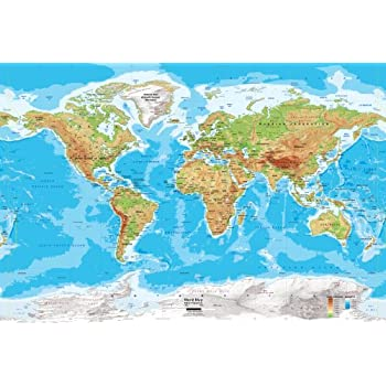 Academia maps world map wall mural detailed satellite image blue academia maps world map wall mural blue ocean physical map premium self adhesive fabric gumiabroncs Image collections