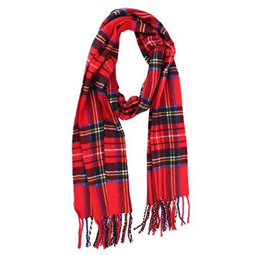 QCHOMEE Unisex Kids Scottish Plaid Winter Warm Blanket Scarf Collar Girls Boys Soft Knit Wool Neck Warmer Stylish Grid Scarf Wrap Shawl for Children Teens Age 3-15Y