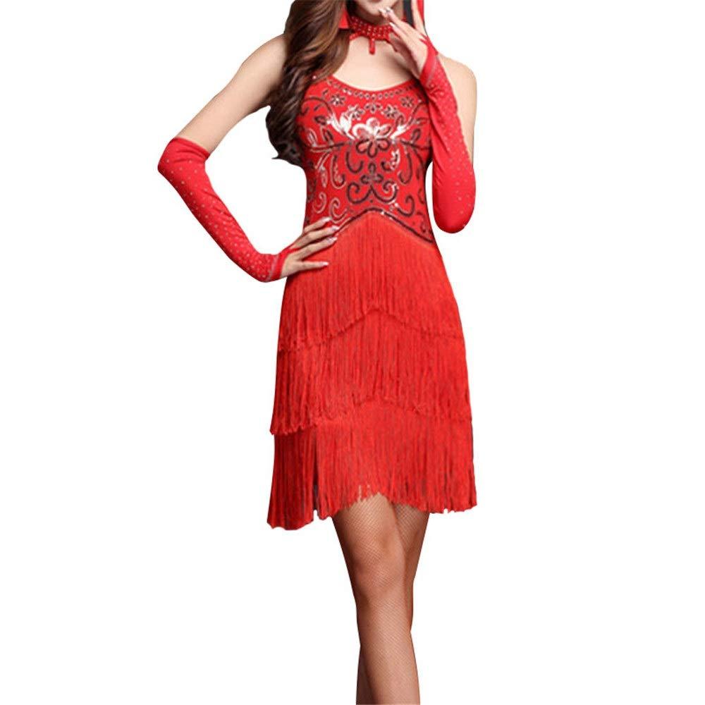 Rouge Robe de danse de gland dames, Femmes Mousseux Sequin Frange Flapper Robe De Danse Latine Sans Manches Moulante Tassel Danse De Salon Robe De Soirée Compétition Perforhommece Vêtements De Danse Costume XL
