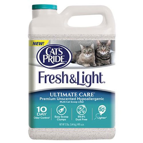 Cat's Pride C47712 Fresh and Light Ultimate Care Premium Unscented Hypoallergenic Multi-Cat Scoop Litter, 12-Pound