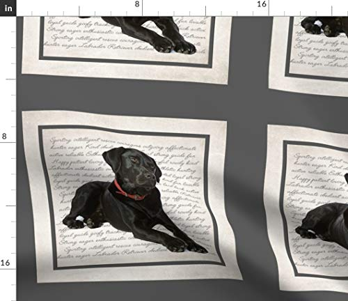 Spoonflower Labrador Retriever Fabric - Labrador Black Lab Dog Pet Breed Personality Print on Fabric by The Yard - Denim for Sewing Bottomweight Apparel Home Decor Upholstery