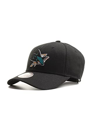bcbc1c5cbaf Mitchell   Ness San Jose Sharks Baseball Cap - Team Logo Low Pro - Black  Adjustable