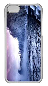 Customized iphone 5C PC Transparent Case - Winter Mountain Creek Personalized Cover