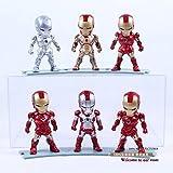Iron Man Eye Light Function Iron Man Mark 2 3 4 5 6 42 PVC Action Figure Collectible Model Toy 6pcs/set Boxed