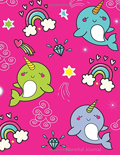 Narwhal Sketchbook: for Kids - Blank Drawing, Doodling & Writing Book - Cute Pink Narwhal Design, Unruled Paper, 100 Numbered Pages Book is 8.5