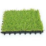 Scorbio Artificial Grass Tile Interlocking Floor Tiles Synthetic Grass Flooring Mat Fake Grass Tile 1' X 1' (1 Piece)