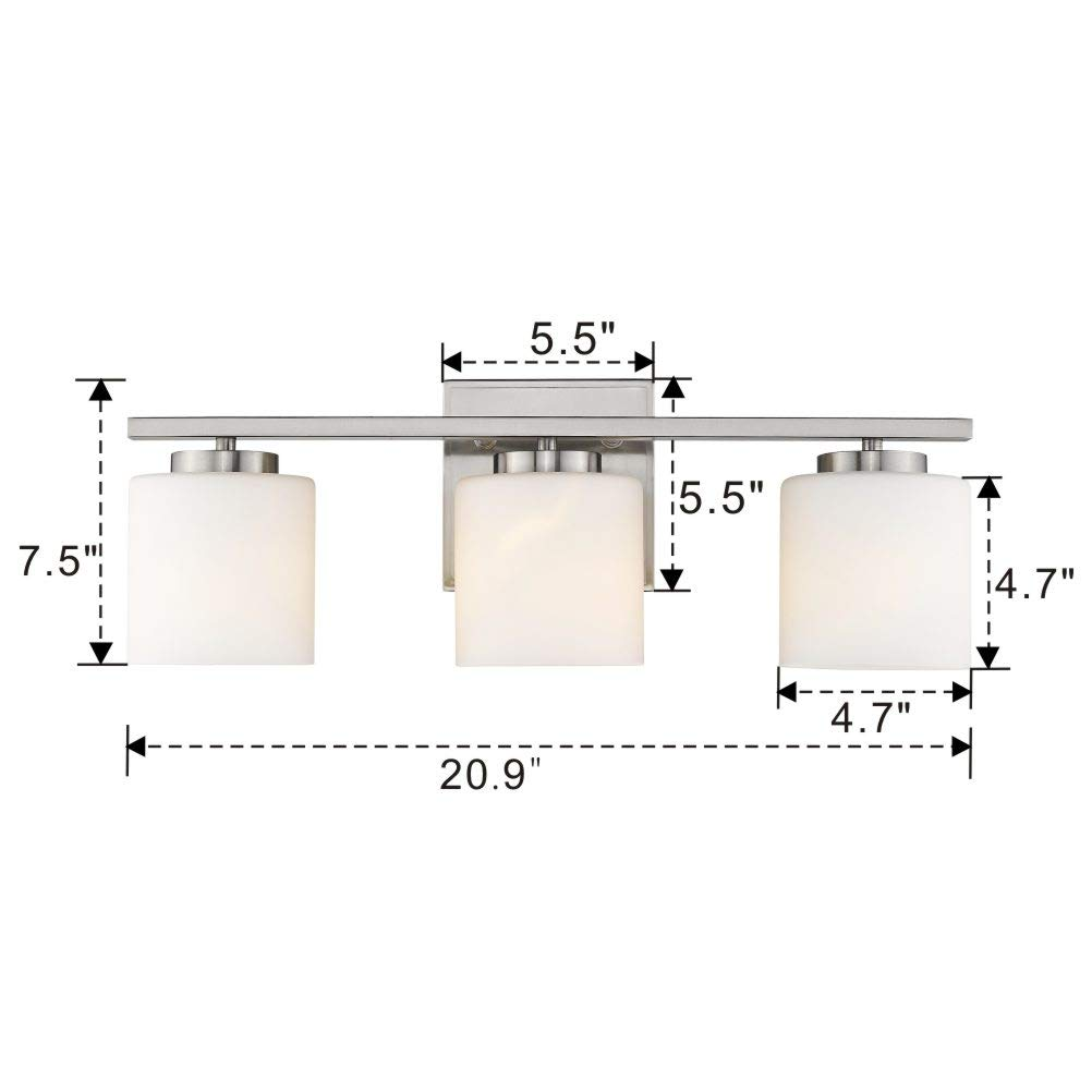 Emliviar 3-Light Bathroom Vanity Light Fixture, Brushed Nickel Finish with White Frosted Glass Shade, 21002-3B by EMLIVIAR (Image #6)