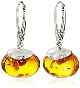Sterling Silver Cognac Amber Drop Earrings