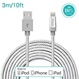 Apple Cable,Idaye®[Apple MFi Certified] 3M/10ft Nylon Braided Lightening to Charging Cord for iPhone 5 / 5s / 5c / 6 / 6 Plus/ 6s, iPod 7, iPad mini1/2/3, iPad Air / Air 2. (10ft-silver) …