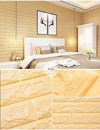 - XiYunHan 3D Wallpaper TV Background Brick 3D Wall Stickers Living Room Foam Brick Stickers Bedroom Imitation Soft Package self-Adhesive Background Wallpaper Buy one get one (Color : Beige)