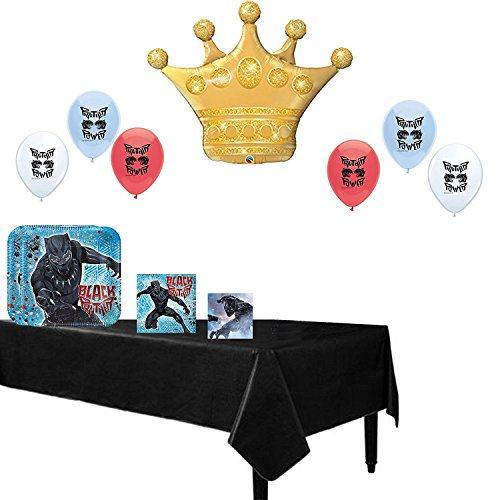 Combined Brands Black Panther Party Supplies Birthday Party Balloons and Tableware Decoration Bundle