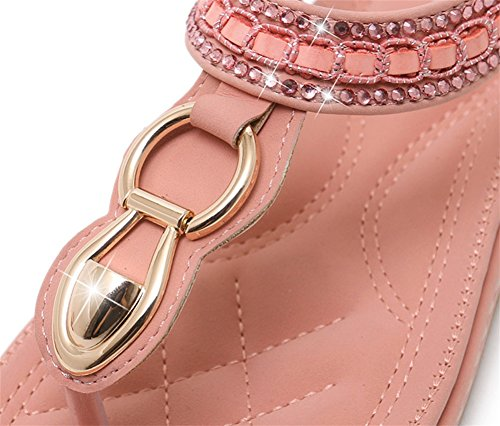 Sandales xie Clip Sandales Appartements Fashion 35 Grande 41 pink Toe Party Strass Robes Taille Femmes Chaussures qnz4TUz
