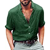 Runcati Mens Linen Casual Long Sleeve Shirt Cotton Tees Loose Fit Button Down Roll up Summer Beach Yoga Tops