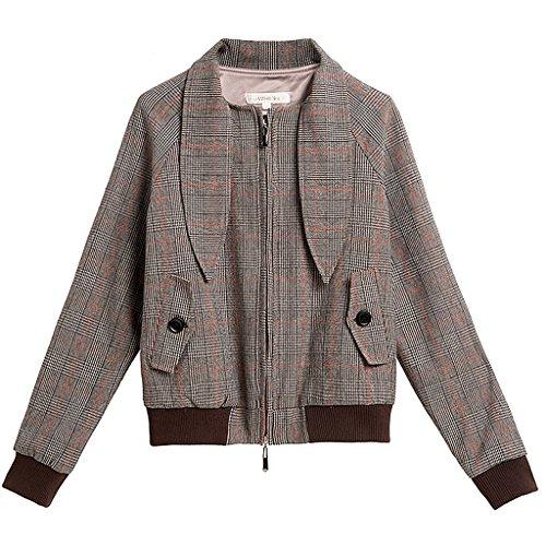 LI SHI XIANG SHOP Autumn-style small bow tie jacket casual short coat (Color : Square, Size : S) by LI SHI XIANG SHOP
