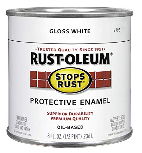 Rust-Oleum 7792730 Protective Enamel Paint, 8-Ounce, Gloss White - No Rust White Metal Paint
