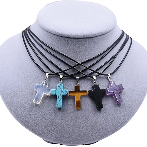 JOYA GIFT Tiny Cross Necklace / Gemstone Minimal Necklace, Religious Necklace for Women (Gemstone Religious Cross)