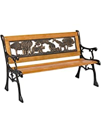 Best Choice Products Outdoor Safari Animals Kids Aluminum U0026 Wood Park Bench  Home U0026 Garden
