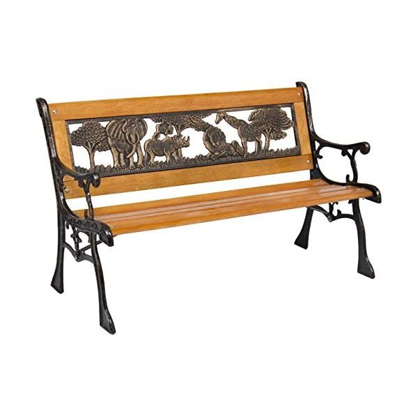 Best-Choice-Products-Outdoor-Safari-Animals-Kids-Aluminum-Wood-Park-Bench-Home-Garden