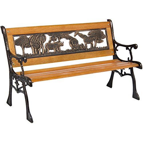 (Best Choice Products Kids Mini Sized Park Bench Decoration Accent for Patio, Porch, Yard w/Safari Animal Accents)