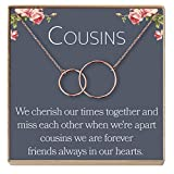 Dear Ava Cousins Necklace: Cousins Gift, Cousins Jewelry, Interlocking Circles Silver, 2 Interlocking Circles (Rose-Gold-Plated-Brass, NA)
