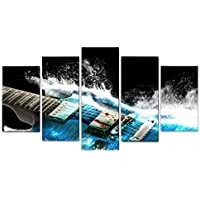 Haihuic Guitar Musical Instruments 5 Panels Canvas Wall Art Painting Print on Canvas, Without Frame, for Home Living Room Wall Decoration