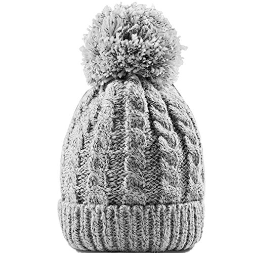 Women's Winter Beanie With Warm Lining - Thick Slouchy Cable Knit Skull Hat Pom Pom Ski Cap In 7 Colors (Gray) (Beanie Cuffed Ski Hat)