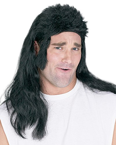Summitfashions Black Mullet Wig Flat Top Wig 1980 -