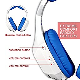 GW SADES AW80 Wired USB Stereo Over Ear Gaming Headset headphones with Mic, Bass Vibration, Volume Control for PC/Laptop (White/Blue)