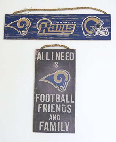 Los Angeles Rams, NFL , Wall Decor, ''team Sign'' and '' all need is....football friends and family , set of 2 by Fan Creations