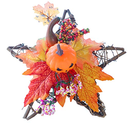 Harvest Thanksgiving Five-Pointed Star Shape Hanging Ornament Rattan Wreath Three-Dimensional Design of Pumpkin Wall Ornament Decoration (A, ()