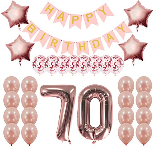(Rose Gold 70th Birthday Decorations Party Supplies Gifts for Women - Create Unique Events with Happy Birthday Banner, 70 Number and Confetti Balloons)