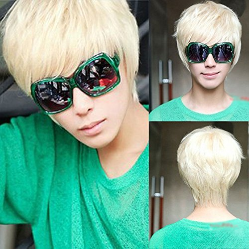 E Support™ Mens Boys New Trendy Short Straight Platinum Blonde Wig Cosplay Party Costume