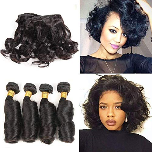 Beauty : Brazilian Funmi Hair Curly Weave 4 Bundles Human Hair Curly Hair Weave 50g/pcs Spiral Curl Hair Bundles 10A Romance Curl 100% Unprocessed Hair Weft Extensions Natural Black Color(10 10 10 10)