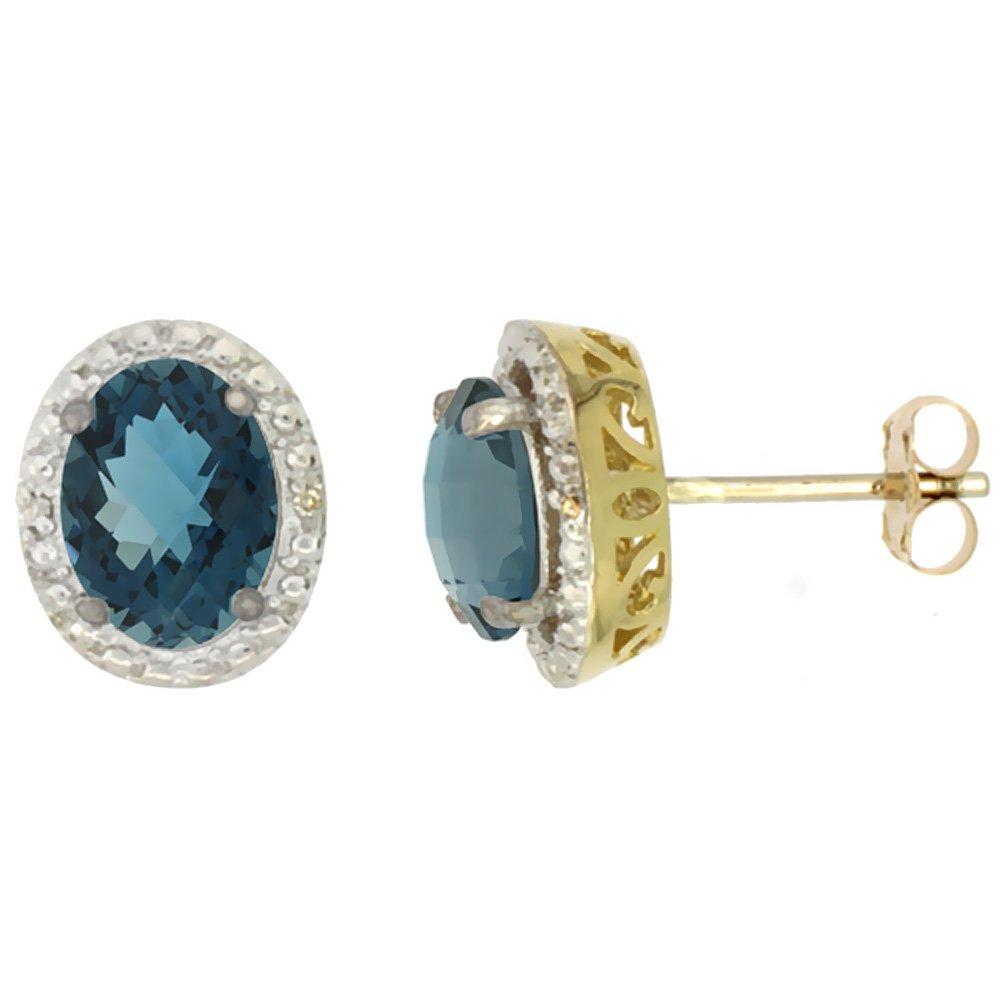10K Yellow Gold 0.01 cttw Diamond Natural London Blue Topaz Post Earrings Oval 7x5 mm