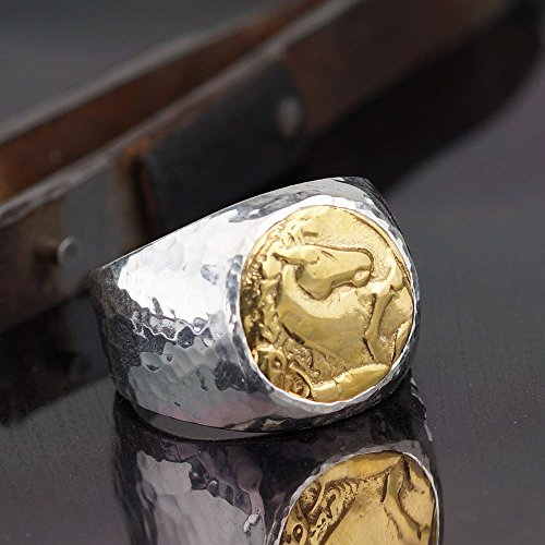 Bold Collection By Omer Large Horse Coin Men's Ring Handmade 925 k Sterling Silver