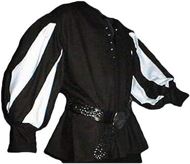 Hombre Medieval Camisa Cuello en Lace-up Raya Manga Larga ...