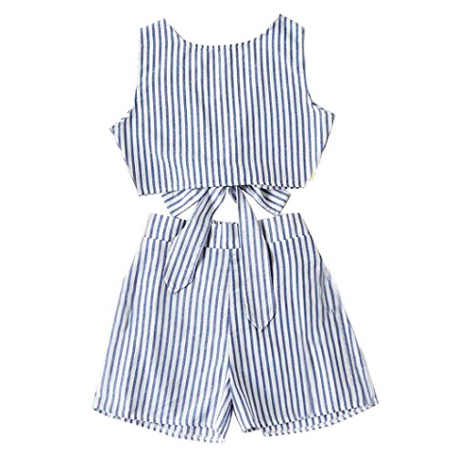 PHOTNO 2 Pieces Set Tank Tops And Shorts Outfit Women Summer Striped Crop Top+Short Pant (M, Blue)