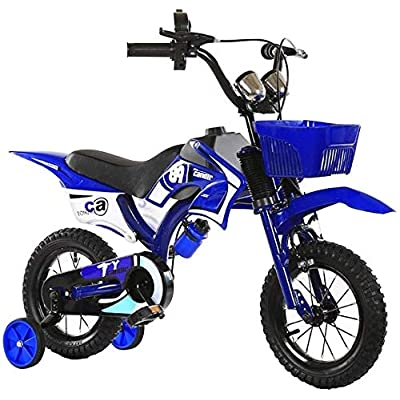 NIAN Kids Bike Freestyle Bicycle with Training Wheels Kickstand Child's Street Dirt Bike Bicycle Magnesium Alloy Frame Child Tricycle Mini Small car cart Color : Blue Size : 18inches: Home & Kitchen