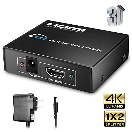 HDMI Splitter 1 in 4 Out 1 Input to 4 Outputs Compatible Xbox PS3 PS4 Fire Stick Roku Blu-Ray Player HDTV Tolmnnts HDMI Splitter Powered AC Adapter Supports 3D Full HD1080P