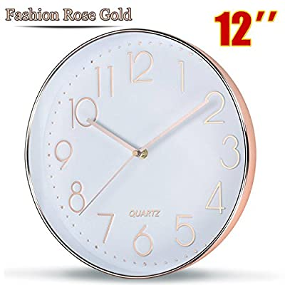Rose Gold Wall Clock by SOULMATES-12 Inch Super Slim Frame-Non Ticking/Silent Sweep- with Gift Wrapped Package - ABOUT BATTERIES: Please use average carbon zinc battery (1.5v), instead of rechargeable or alkaline batteries.(baterry not included) VERY QUIET WALL CLOCK: silent sweep and non ticking, perfect for dining rooms, living rooms, family rooms, bedrooms, study room, kitchen, office, or conference room MODERN AND STYLISH APPEARANCE DESIGN: With super slim frame, it is a stylish, classic and smart looking wall clock, add fashion elements to your room - wall-clocks, living-room-decor, living-room - 51xCRtV9AML. SS400  -